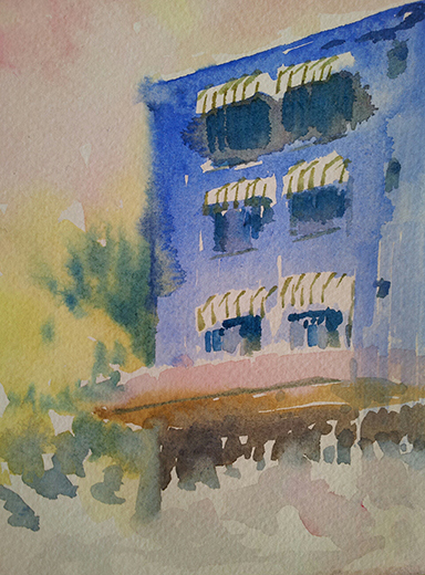 image, building, landscape, water color